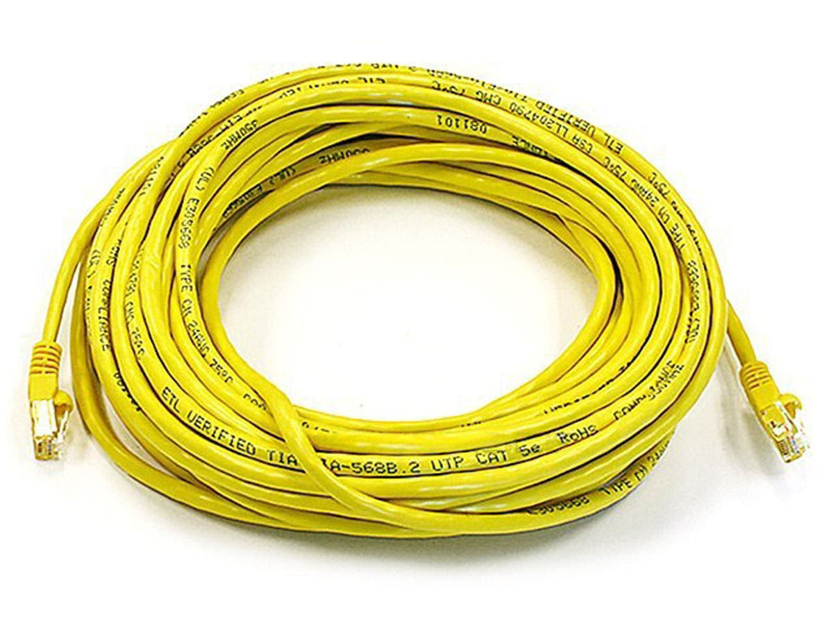 Cat5e 24AWG UTP Ethernet Network Patch Cable, 50ft Yellow