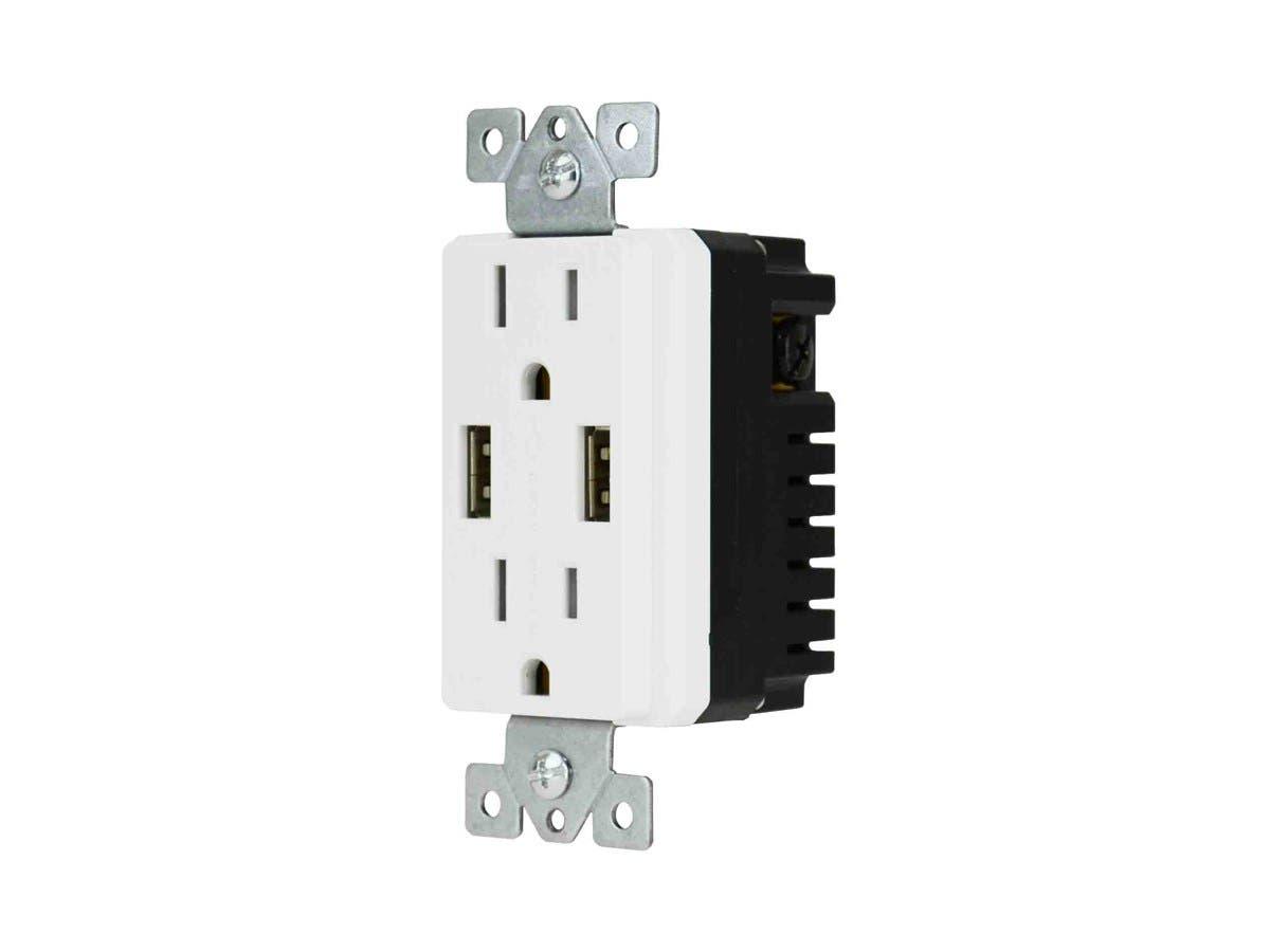 4.0A Décor Duplex USB Receptacle 15A/125V-Large-Image-1