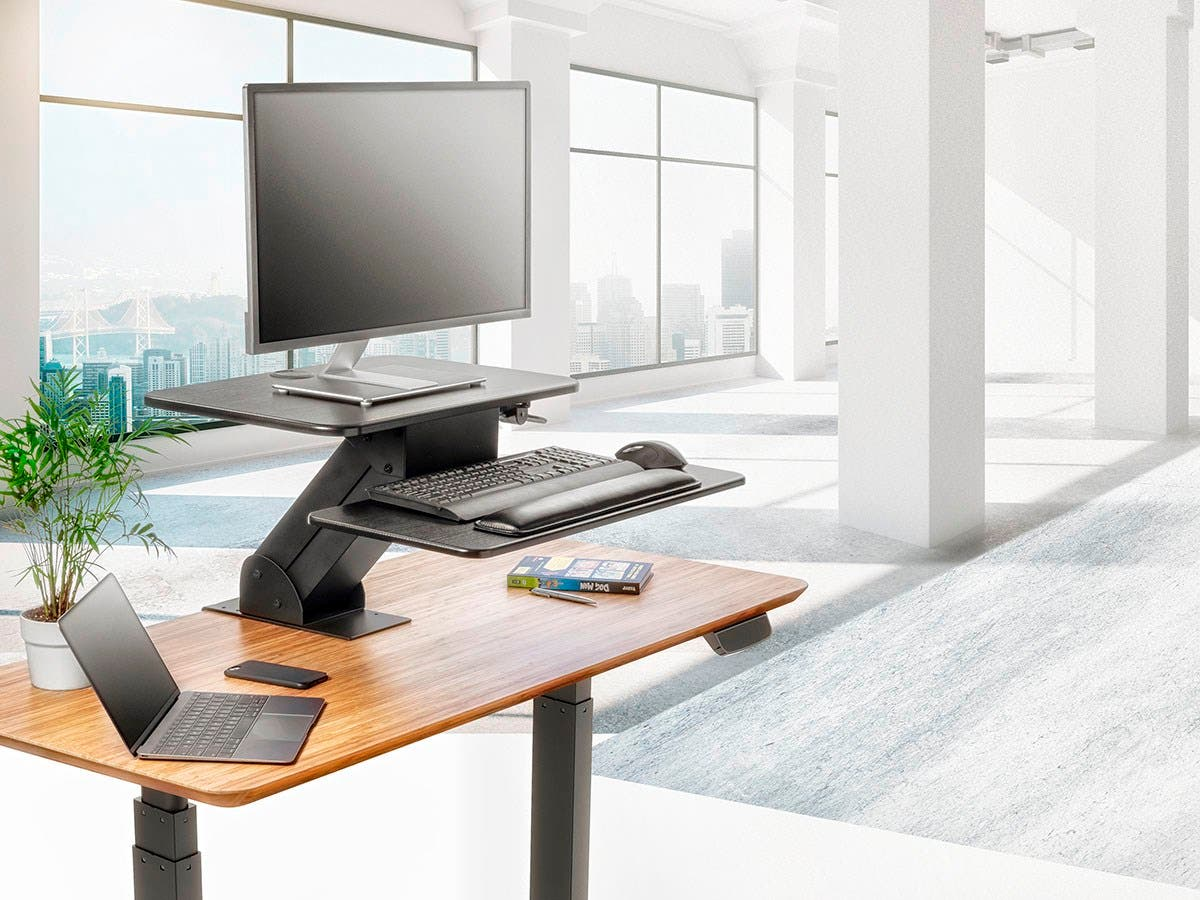 Sit Stand Workstation Table Or Desk Converter With Edge Clamp Mount Small