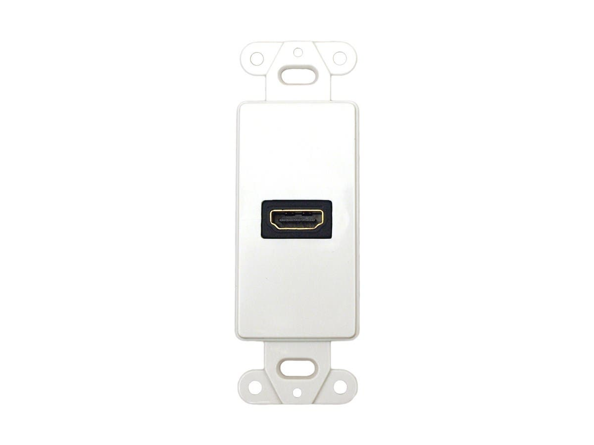 Décor Wall Plate Insert with 90-degree HDMI Connector, White-Large-Image-1