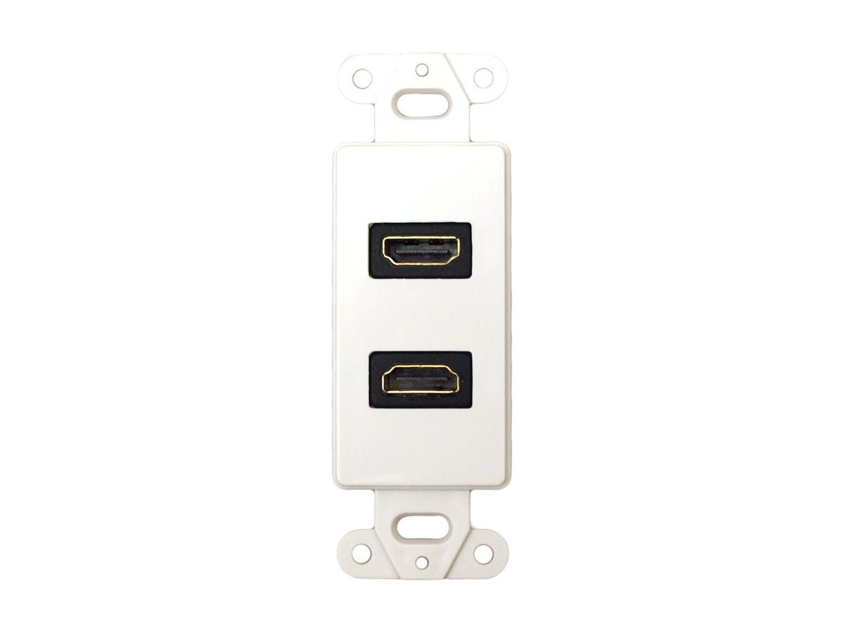 Décor Wall Plate Insert with Dual 90-degree HDMI Connectors, White
