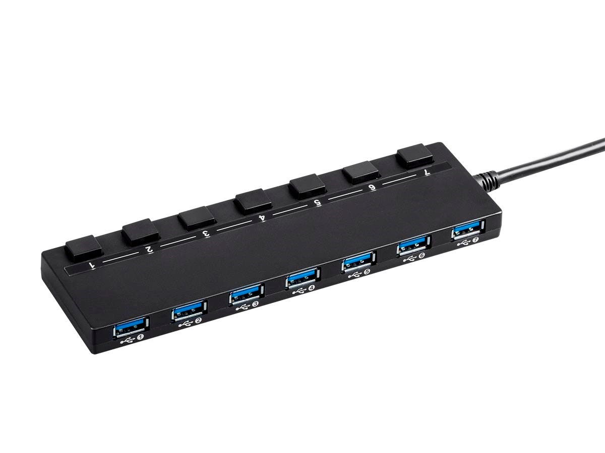 USB 3.0 7-port Switch Hub, with AC Adapter-Large-Image-1