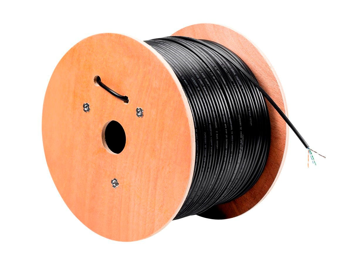 Monoprice Cat5e Ethernet Bulk Cable - Solid, 350Mhz, UTP, Pure Bare Copper Wire, Outdoor, 24AWG, No Logo, 1000ft, Black-Large-Image-1