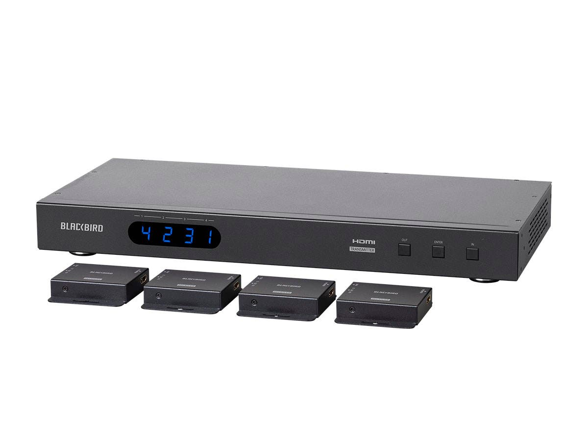 Monoprice Blackbird 4K 4x4 HDMI Matrix Extender with 4 Receivers, PoC, IR, EDID-Large-Image-1
