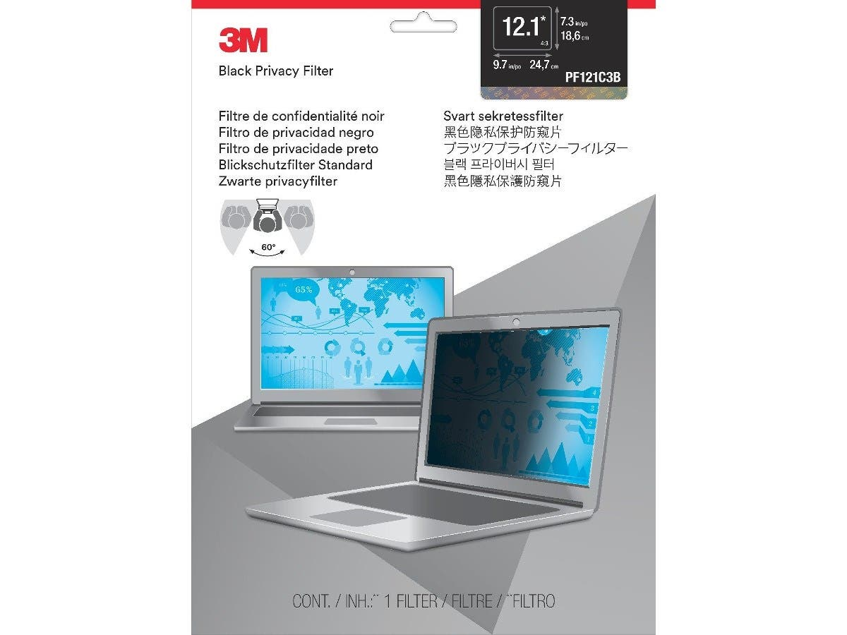 "3M Privacy Screen Filter Black - For 12.1""Notebook-Large-Image-1"