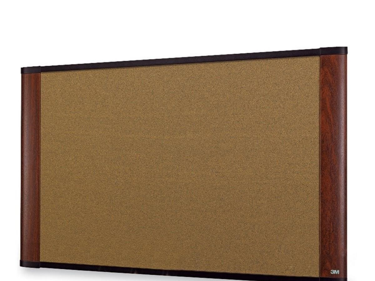 "3M Standard Cork Bulletin Board - 36"" Height x 24"" Width - Mahogany Wood Frame - 1 Each-Large-Image-1"