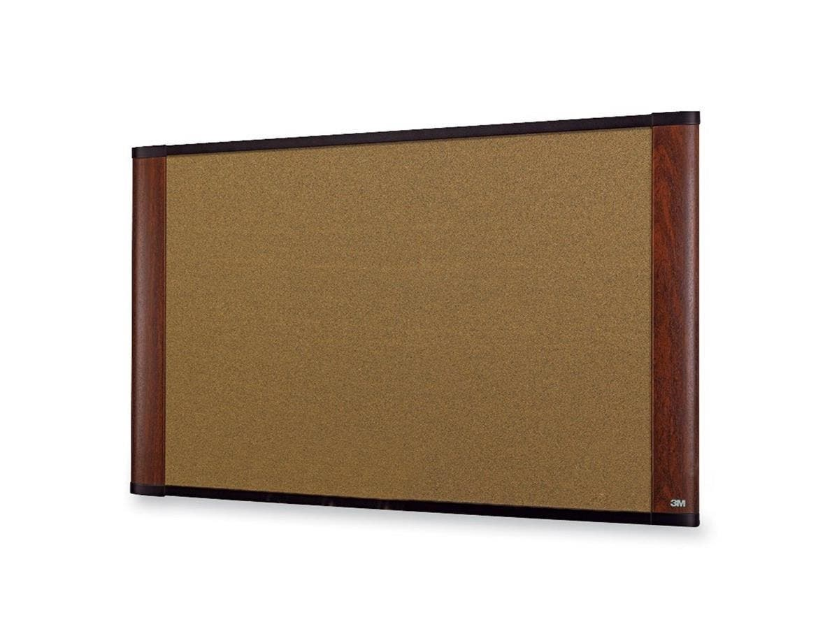 "3M Wide-screen Style Bulletin Board - 36"" Height x 48"" Width - Mahogany Cork Surface - Mahogany Wood Frame - 1 / Each-Large-Image-1"