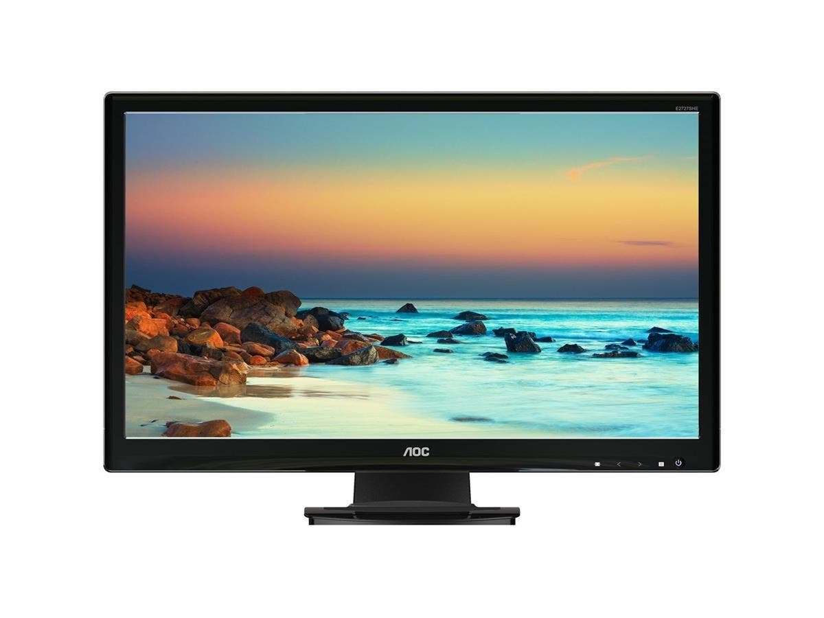 "AOC E2727SHE 27"" LED LCD Monitor - 16:9 - 5 ms - 1920 x 1080 - 16.7 Million Colors - 300 Nit - 20,000,000:1 - Full HD - DVI - HDMI - VGA - 18 W - Glossy Black - RoHS, ENERGY STAR"