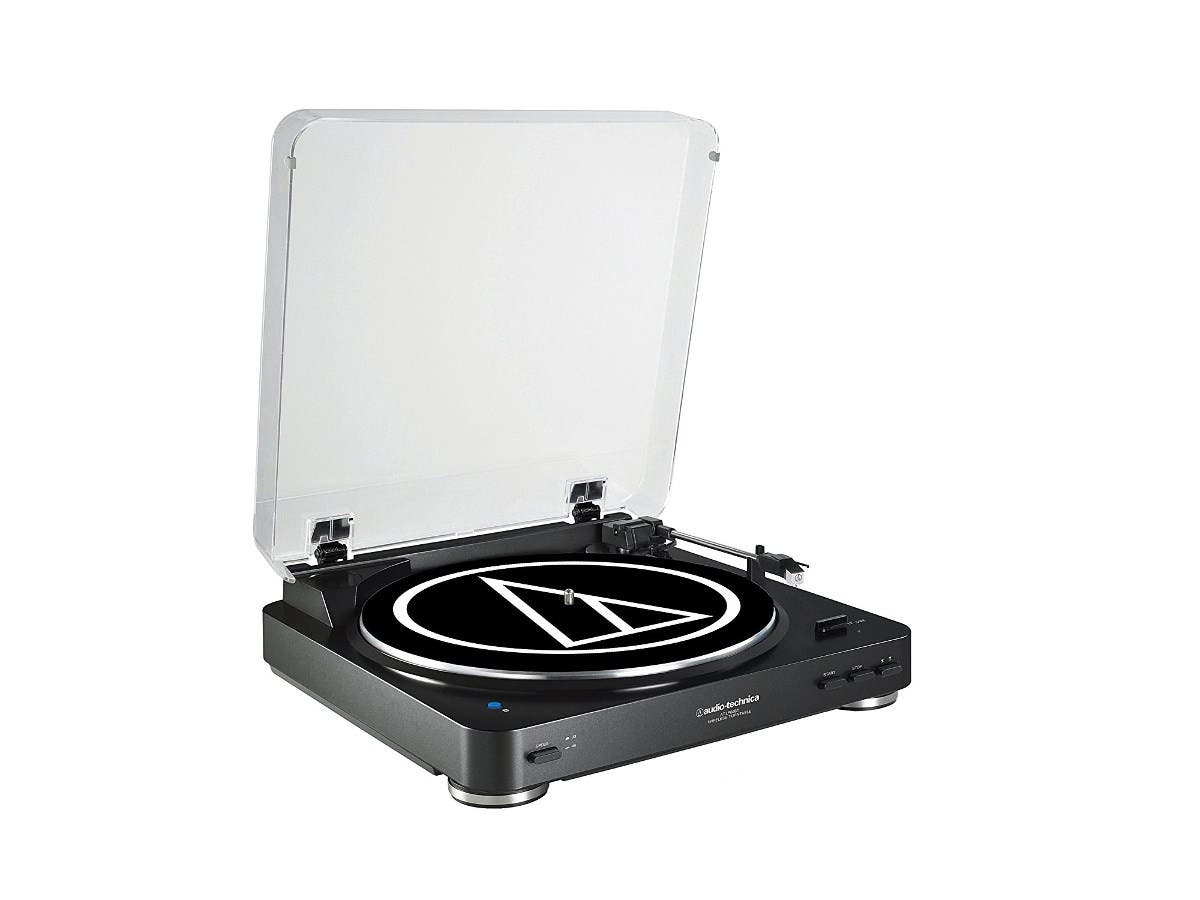 Audio Technica AT-LP60BK-BT Fully Automatic Bluetooth Wireless Belt-Drive Stereo Turntable, Black -Large-Image-1