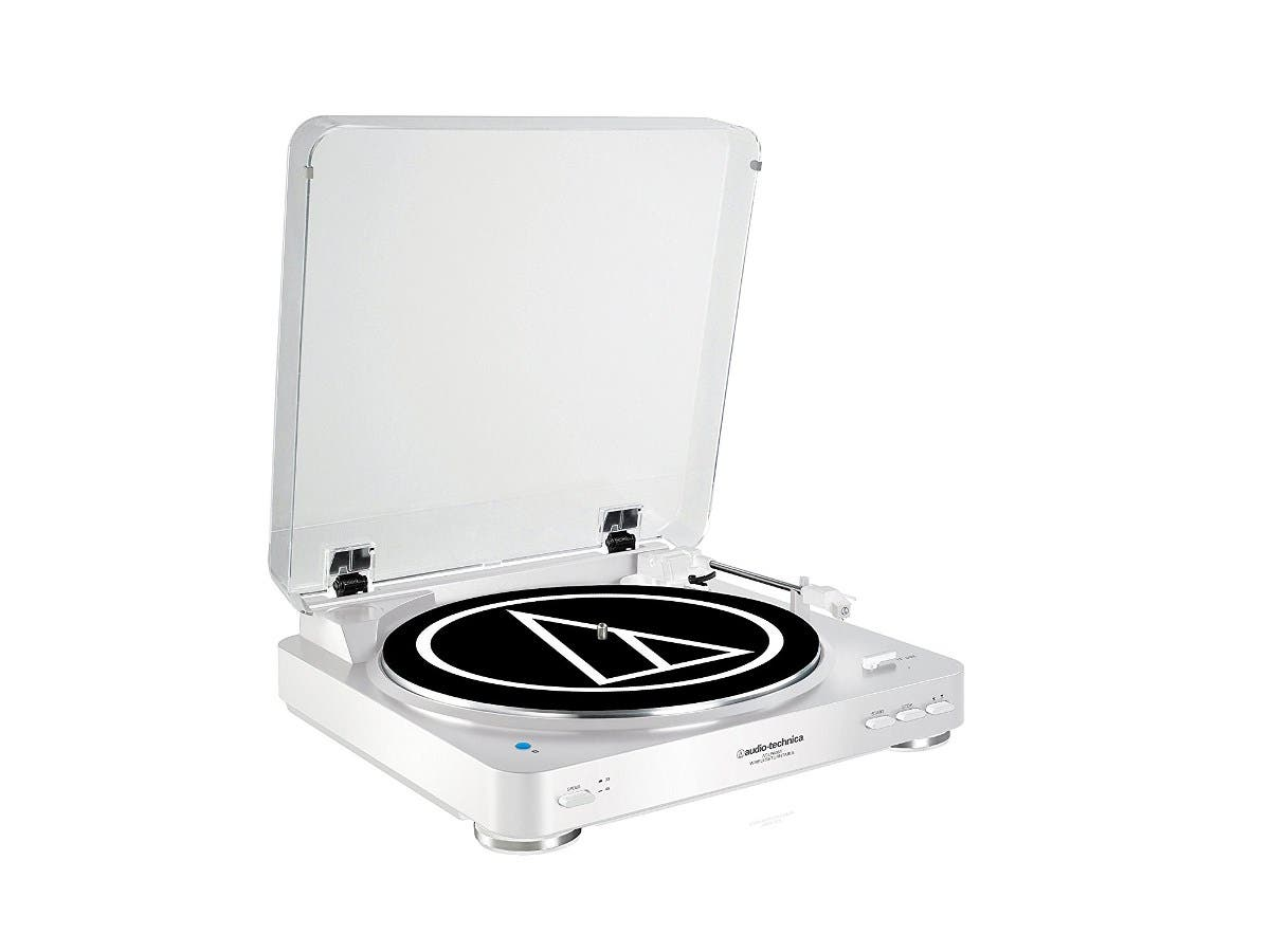 Audio Technica AT-LP60WH-BT Fully Automatic Bluetooth Wireless Belt-Drive Stereo Turntable, White