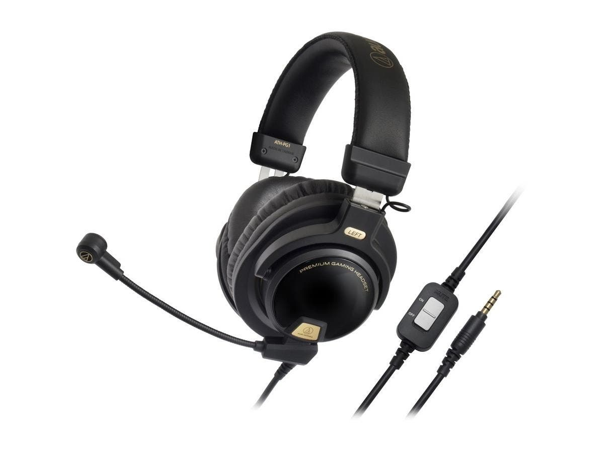 Audio-Technica ATH-PG1 Premium Gaming Headset - Stereo - Mini-phone - Wired - 38 Ohm - 20 Hz - 20 kHz - Gold Plated - Over-the-head - Binaural - Circumaural - 3.94 ft Cable