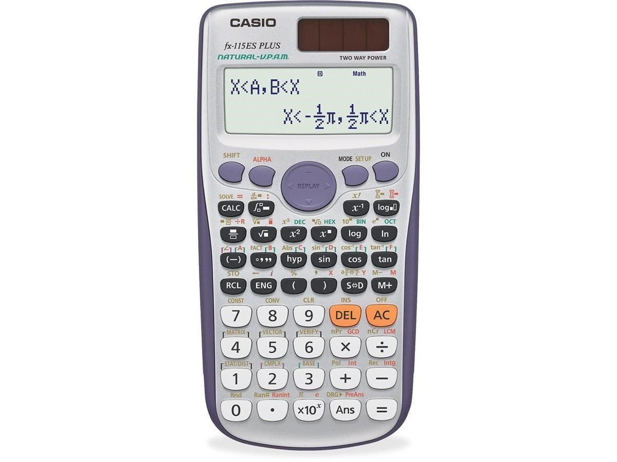 Casio FX-115ESPLUS Scientific Calculator - Slide-on Hard Case, Plastic Key, Auto Power Off - 2 Line(s) - 12 Digits - Battery/Solar Powered - 1 Each-Large-Image-1
