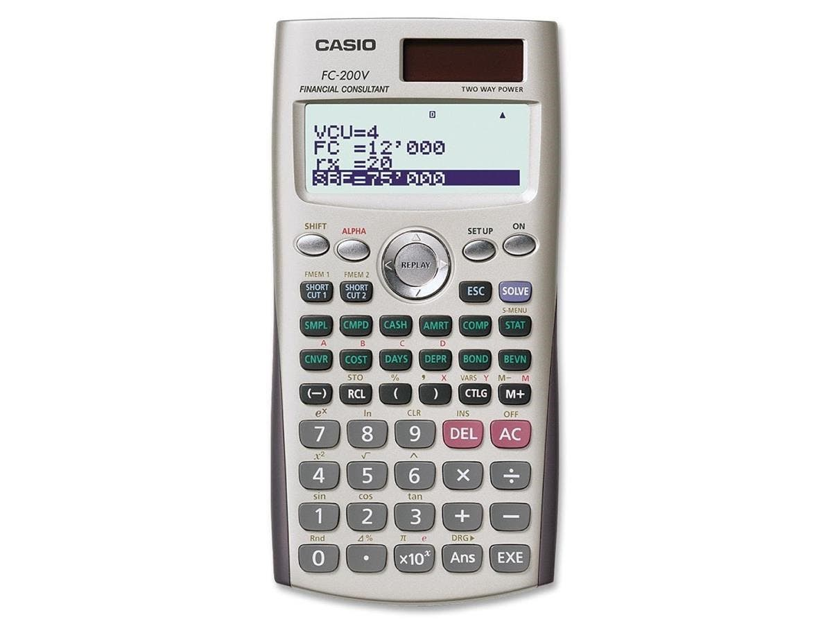 "Casio FC200V Financial Calculator - Solar, Battery Powered, Slide-on Hard Case - 4 Line(s) - 12 Digits - Dot Matrix - Battery/Solar Powered - 3.2"" x 6.3"" x 0.4"" - Silver - 1 Each"
