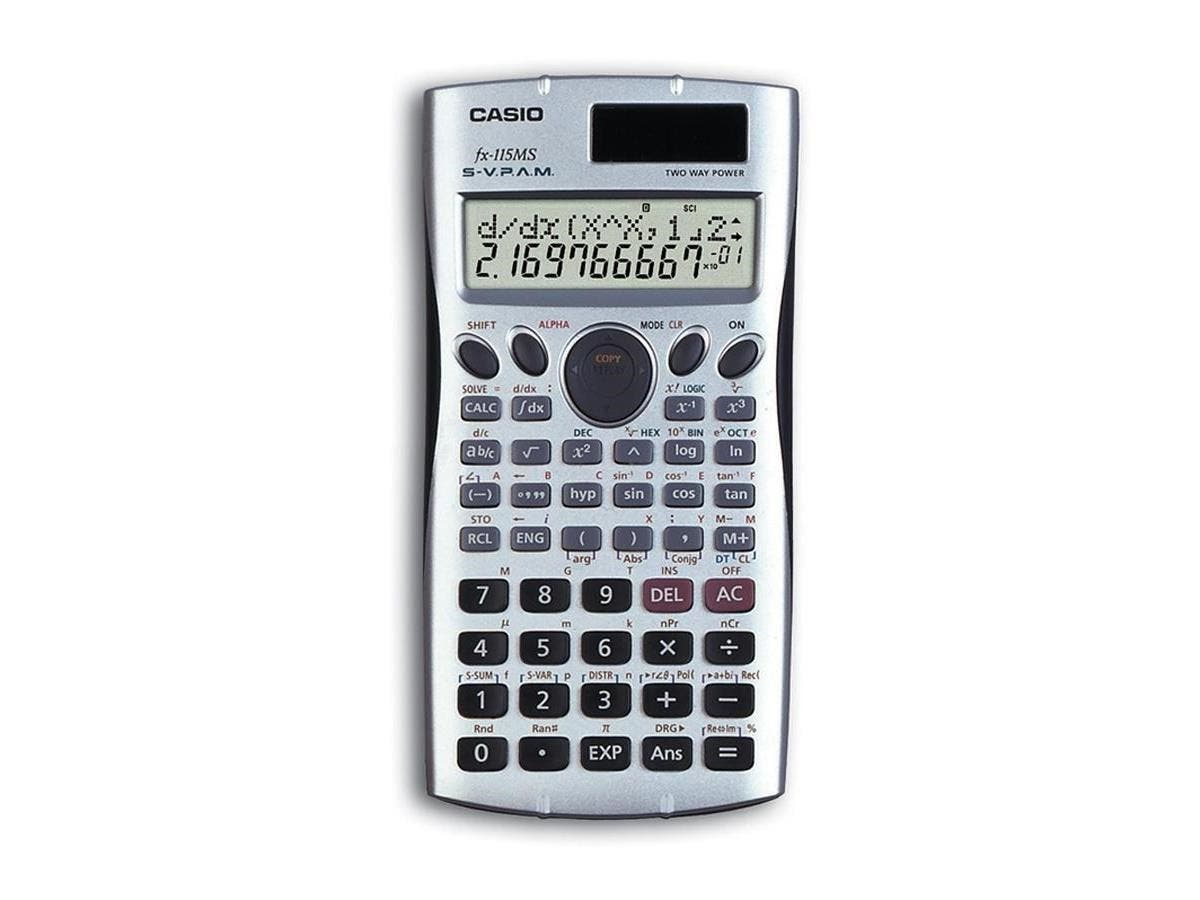 Casio FX115MS Scientific Calculator - Auto Power Off, Slide-on Hard Case, Battery Powered, Review, Edit Previous, Fixed Decimal, Independent Memory - Battery/Solar Powered