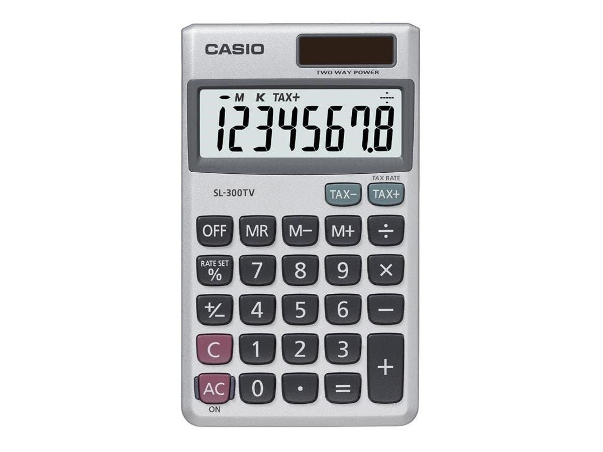 "Casio SL300SV Pocket Calculator - 8 Digits - Battery/Solar Powered - 0.3"" x 2.8"" x 4.6"" - Silver - 1 Each-Large-Image-1"