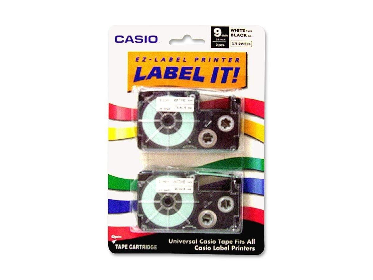 "Casio Label Tape - 0.37"" Width x 26 ft Length - White - 2 / Pack"