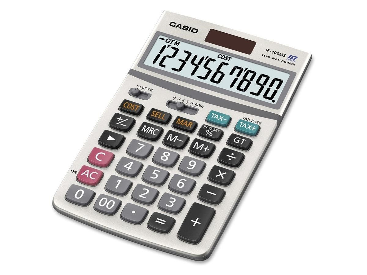 "Casio JF100MS General Purpose Calculator - Extra Large Display, Auto Power Off, Plastic Key, Kickstand - 10 Digits - LCD - Battery/Solar Powered - 1.3"" x 4.2"" x 6.8"" - 1 Each-Large-Image-1"