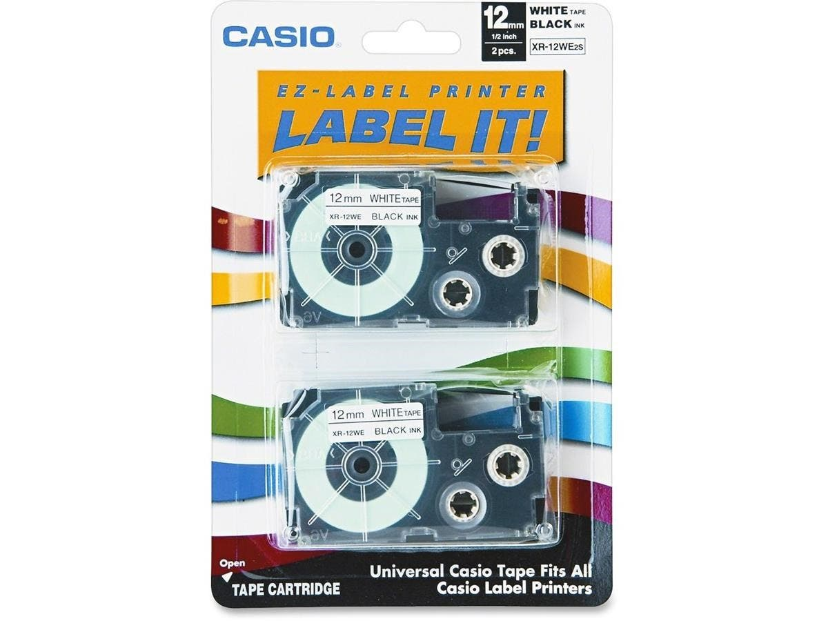 "Casio Label Printer Tape - 0.47"" Length - Direct Thermal - White - 2 / Pack-Large-Image-1"