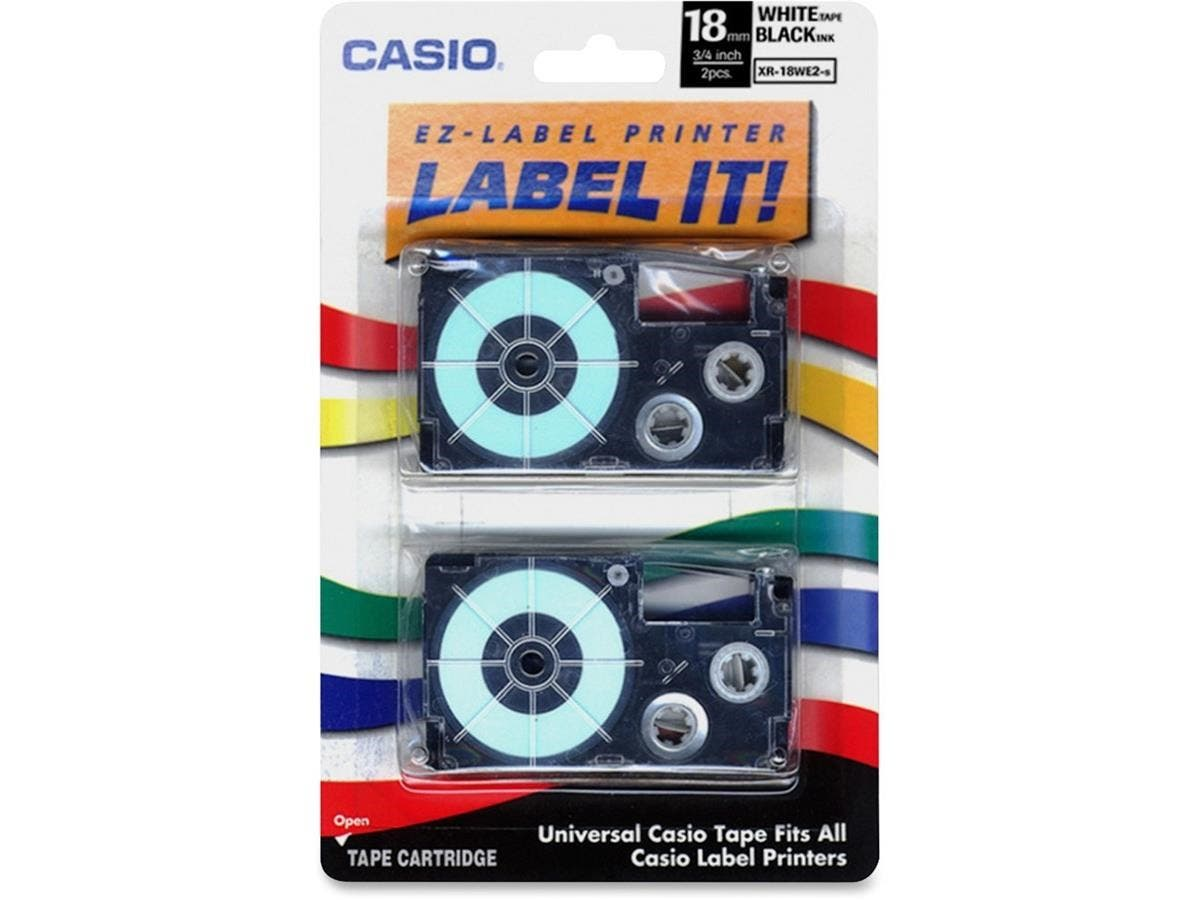 "Casio Label Tape - 0.71"" Length - Dye Sublimation - White - 2 / Pack-Large-Image-1"