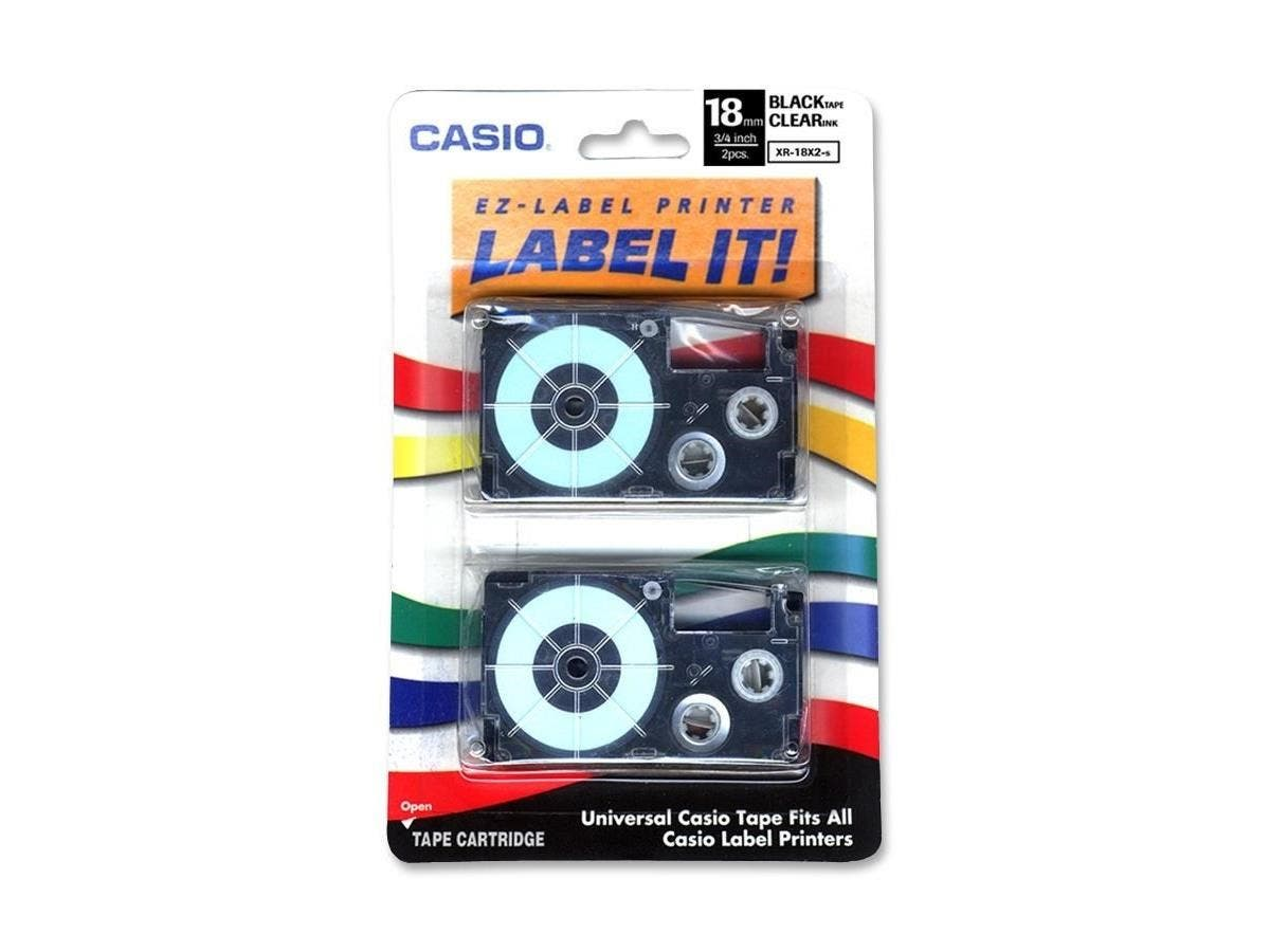 "Casio Label Tape - 0.71"" Length - Dye Sublimation - Clear - 2 / Pack-Large-Image-1"