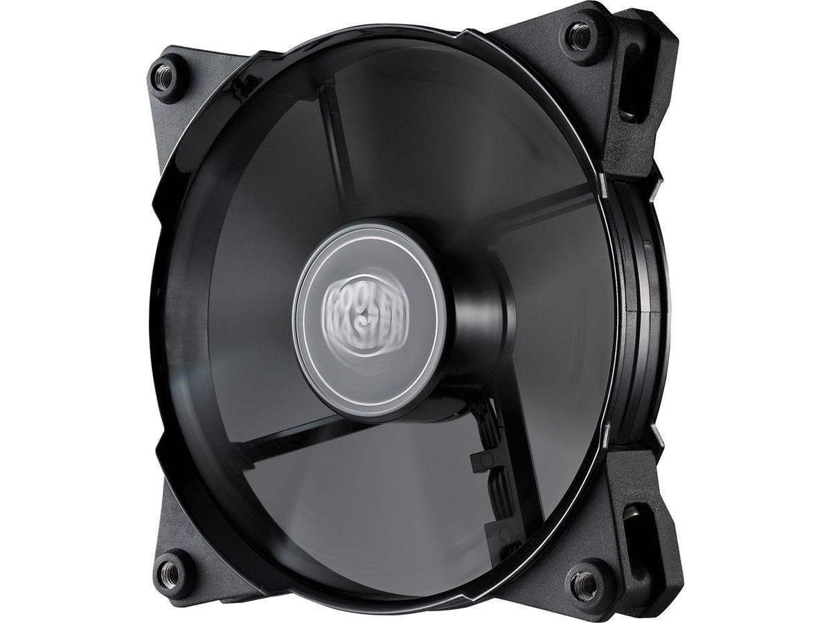 Cooler Master JetFlo 120 - POM Bearing 120mm High Performance Silent Fan for Computer Cases, CPU Coolers, and Radiators (Black) - 160,000 hour lifespan, POM Bearing, 120x120x25 mm, PWM, ~800-2000 RPM -Large-Image-1