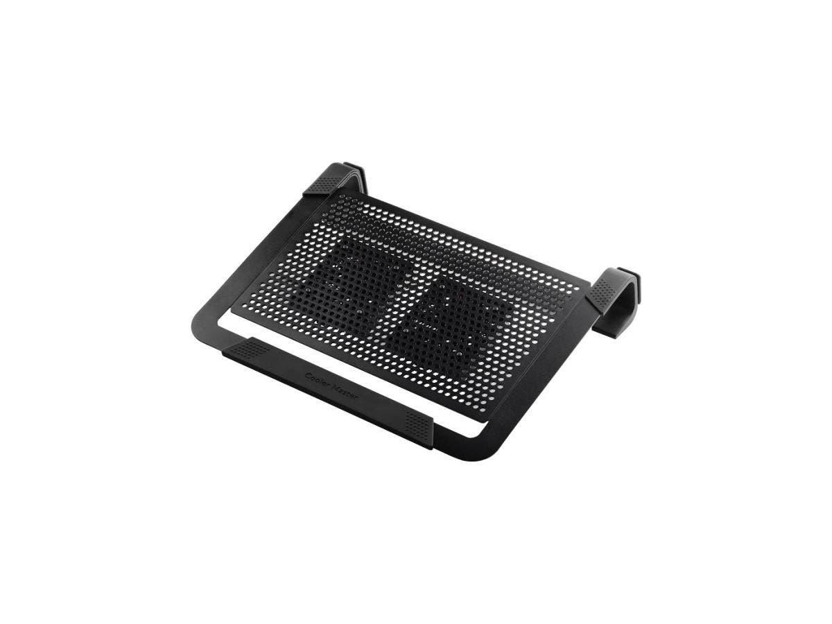 """Cooler Master NotePal U2 Plus - 2 Fan(s) - 2000 rpm - Aluminum, Metal, Plastic, Rubber - 2.4"""" x 13.6"""" x 11.1"""" - Black-Large-Image-1"""