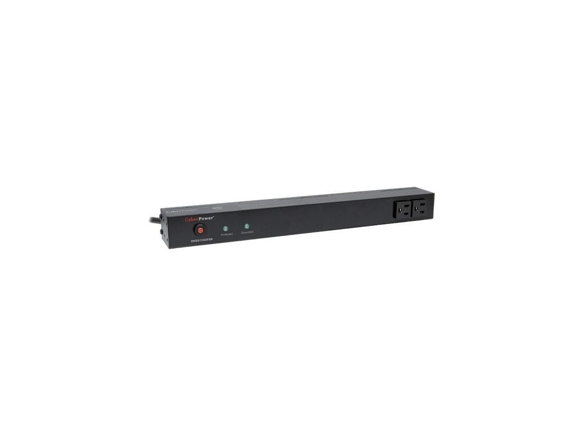 CyberPower Rackbar Surge Suppressor RM 1U RKBS15S2F8R 15A 10-Outlet - Receptacles: 10 x NEMA 5-15R - 3600J-Large-Image-1