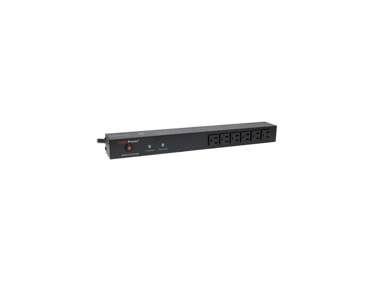 CyberPower Rackbar Surge Suppressor RM 1U RKBS15S6F10R 15A 16-Outlet - Receptacles: 16 x NEMA 5-15R - 3600J