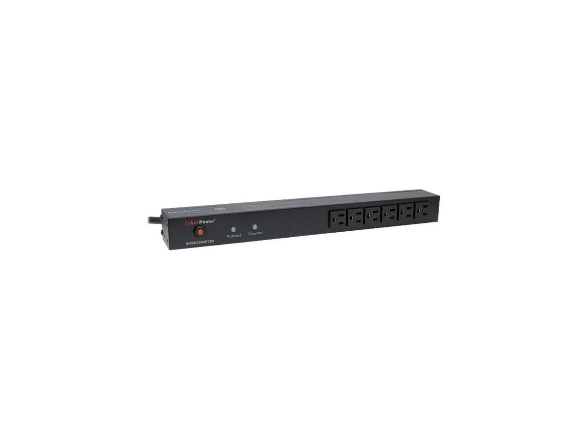 CyberPower Rackbar Surge Suppressor RM 1U RKBS15S6F12R 15A 18-Outlet - Receptacles: 18 x NEMA 5-15R - 3600J