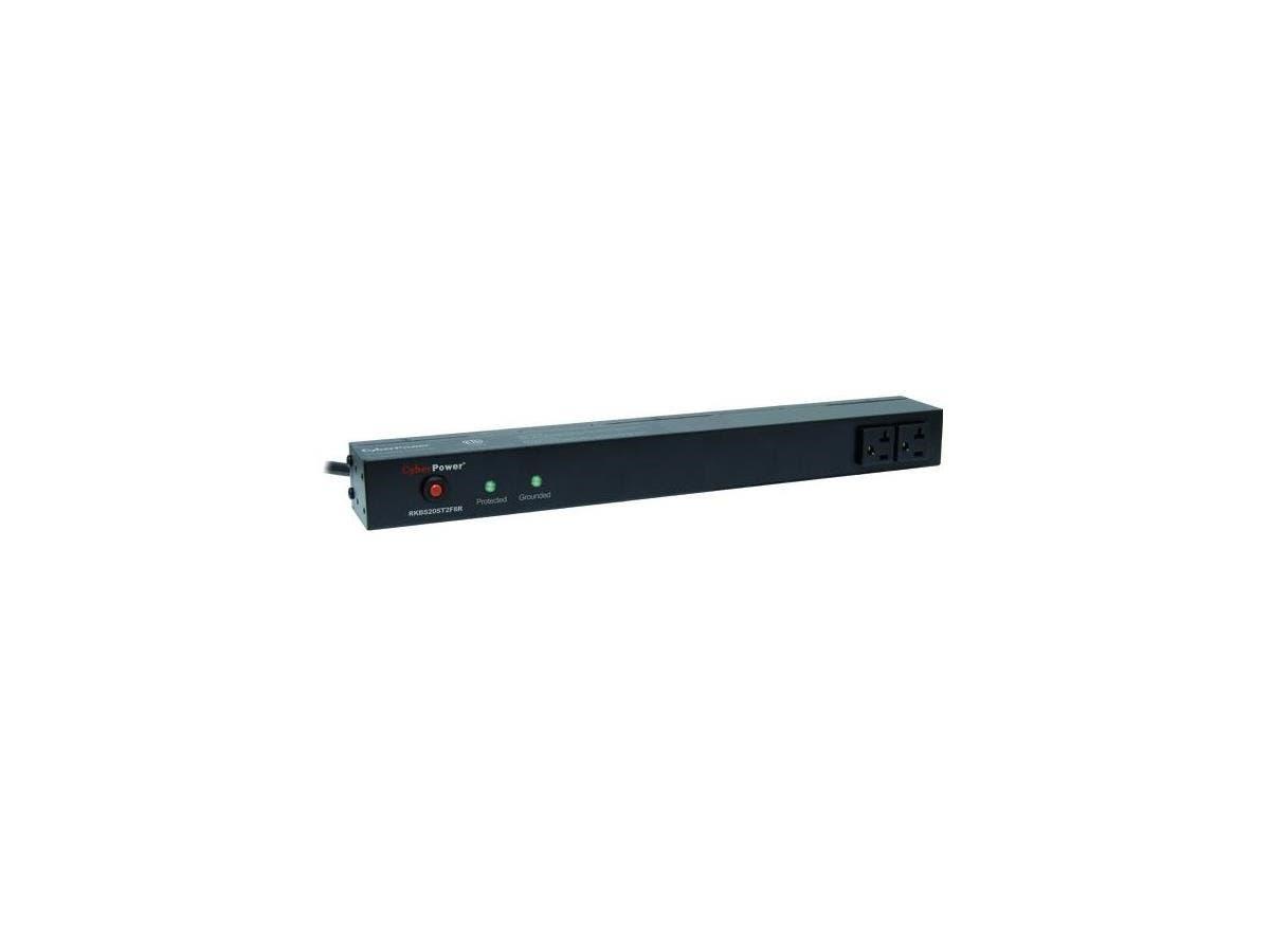 CyberPower Rackbar Surge Suppressor RM 1U RKBS20ST2F8R 20A 10-Outlet - Receptacles: 10 x NEMA 5-20R - 1800J