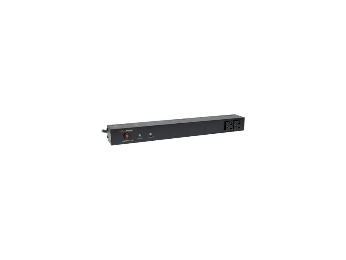 CyberPower Rackbar Surge Suppressor RM 1U RKBS20S2F10R 20A 12-Outlet - Receptacles: 12 x NEMA 5-20R - 1800J-Large-Image-1
