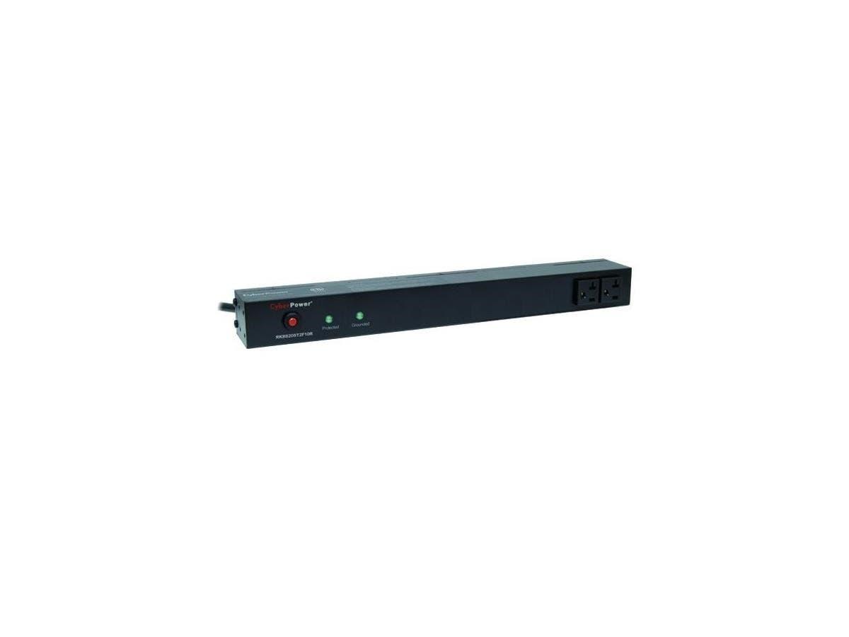 CyberPower Rackbar Surge Suppressor RM 1U RKBS20ST2F10R 20A 12-Outlet - Receptacles: 12 x NEMA 5-20R - 1800J