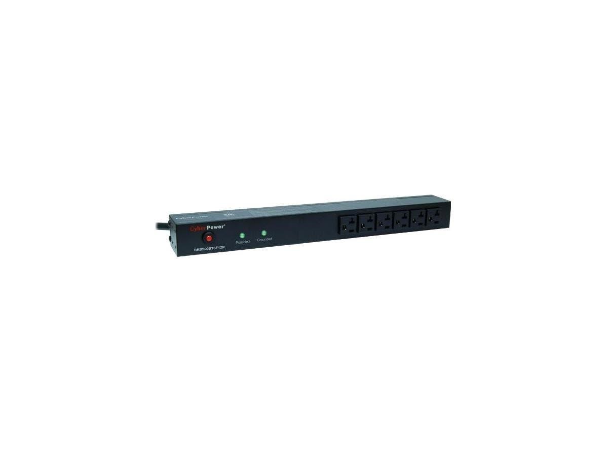 CyberPower Rackbar Surge Suppressor RM 1U RKBS20ST6F12R 20A 18-Outlet - Receptacles: 18 x NEMA 5-20R - 1800J