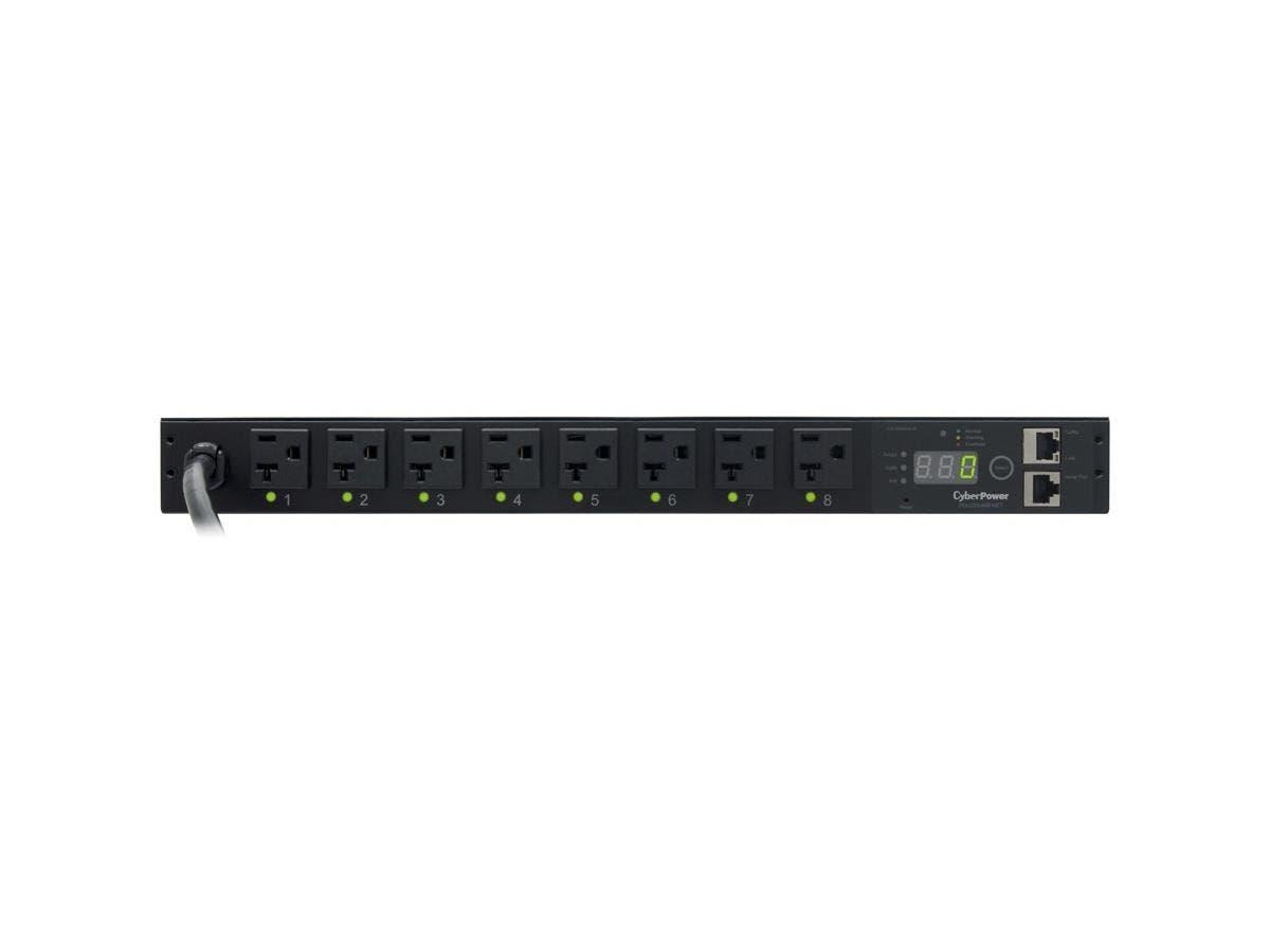 "CyberPower Switched PDU RM 1U PDU20SW8FNET 20A 8-Outlet - 8 x NEMA 5-20R - Zero U 19"" Rack-mountable, 1U 19"" Rack-mountable"