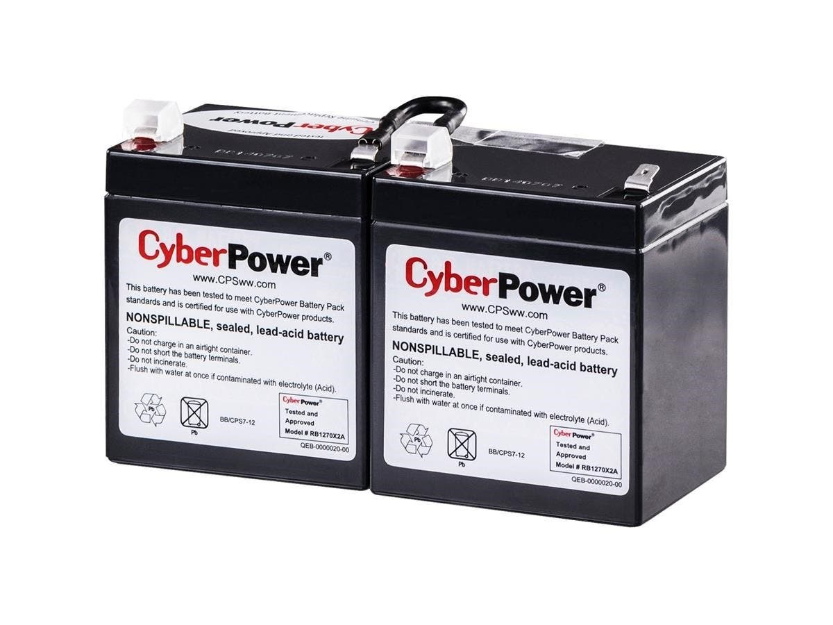 CyberPower RB1270X2A UPS Replacement Battery Cartridge 12V 7AH - 7000 mAh - 12 V DC - Sealed Lead Acid - Spill-proof/Maintenance-free - 3 Year Minimum Battery Life - 5 Year Maximum Battery Life-Large-Image-1