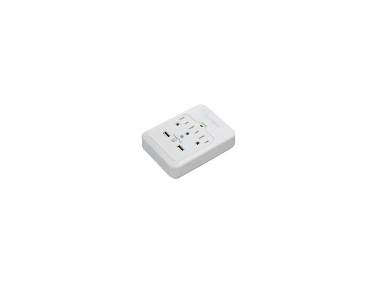 CyberPower CSP300WUR1 Professional 3-Outlets Surge with 600J, 2-2.1A USB and Wall Tap - 3 x NEMA 5-15R, 2 x USB - 600 J - 125 V AC Input - 5 V DC Output-Large-Image-1