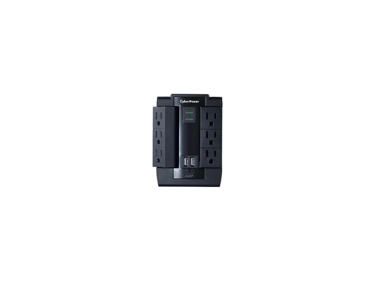 CyberPower CSP600WSU Professional 6 Swivel Outlets Surge with 1200J, 2-2.1A USB & Wall Tap - 6 x NEMA 5-15R, 2 x USB - 1200 J - 125 V AC Input - 5 V DC Output-Large-Image-1