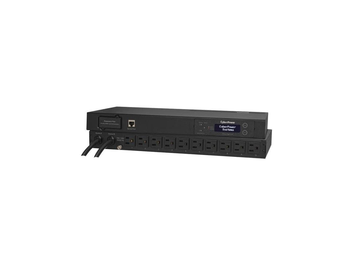 CyberPower PDU15M10AT Metered ATS PDU 120V 15A 1U 10-Outlets (2) 5-15P - 10 x NEMA 5-15R - 1U Horizontal Rackmount-Large-Image-1