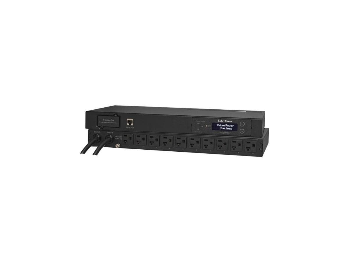 CyberPower PDU20M10AT Metered ATS PDU 120V 20A 1U 10-Outlets (2) 5-20P - 10 x NEMA 5-20R - Network (RJ-45) - 1U - Horizontal Rackmount-Large-Image-1