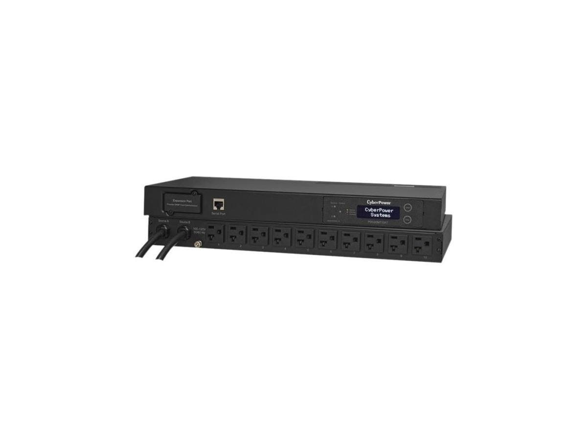 CyberPower PDU20MT10AT Metered ATS PDU 120V 20A 1U 10-Outlets (2) L5-20P - 10 x NEMA 5-20R - Network (RJ-45) - 1U - Horizontal Rackmount