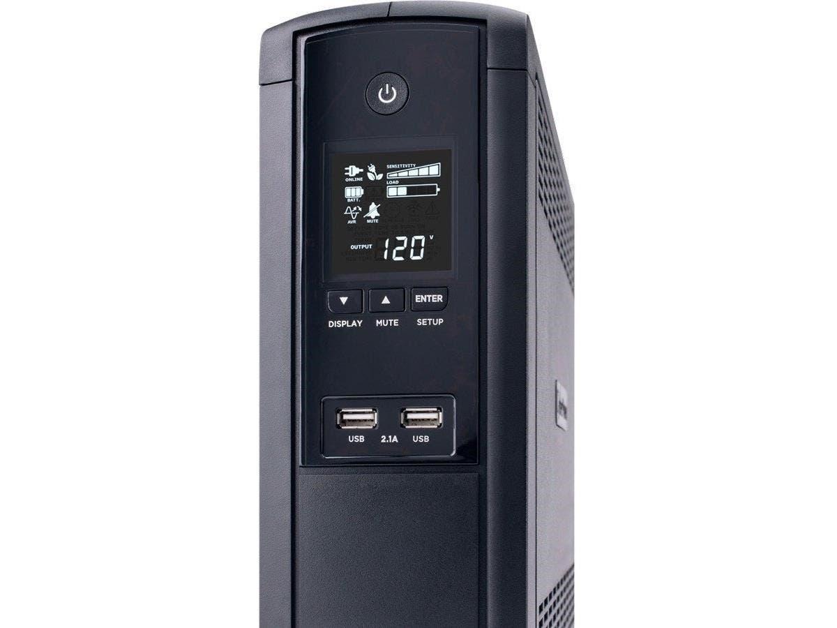 CyberPower TAA Compliant 1500VA BRG1500AVRLCDTAA UPS with 900W and 2.1 USB Charging - 1500 VA/900 W - 2 Minute - Mini-tower - 2 Minute - 12 x NEMA 5-15R, 2 x USB - Surge, Overload, EMI / RFI, Lightnin-Large-Image-1