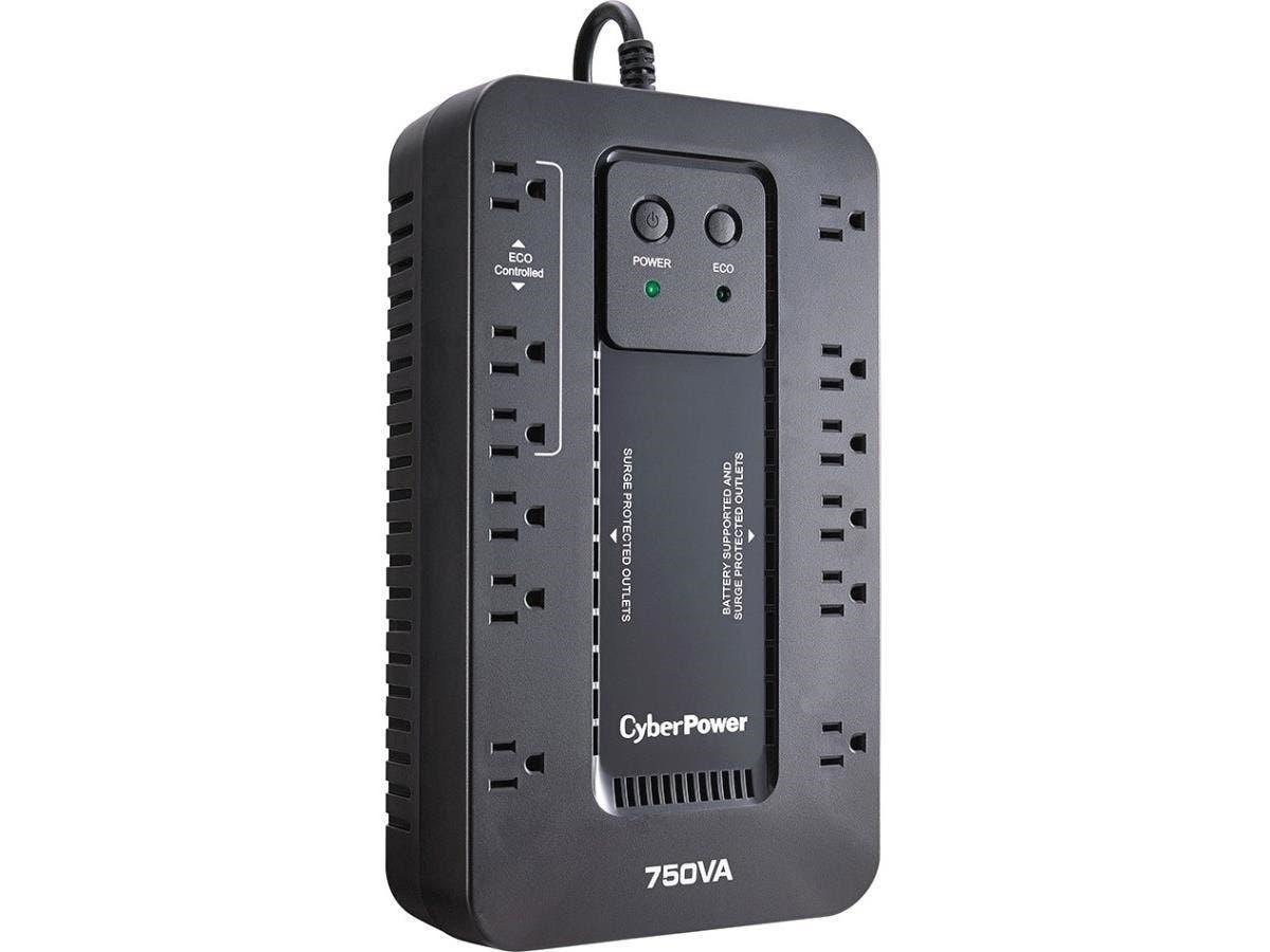 CyberPower EC750GTAA 750VA Desktop UPS - 750 VA/450 W - 120 V AC - 1 Minute - Desktop - 1 Minute - NEMA 5-15P, 12 x NEMA 5-15R, USB