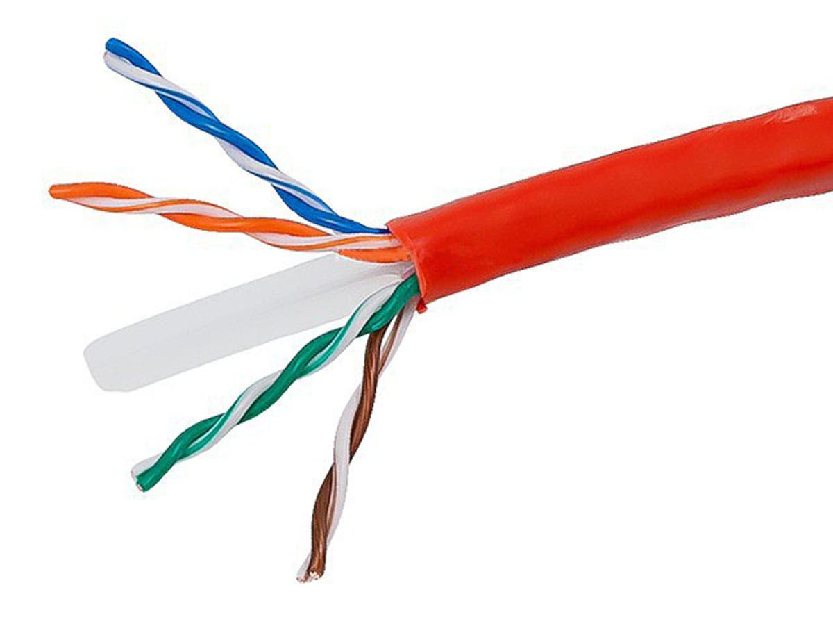 1000FT Cat6 Bulk Bare Copper Ethernet Network Cable UTP, Stranded, In-Wall Rated (CM), 550MHz, 24AWG, Red