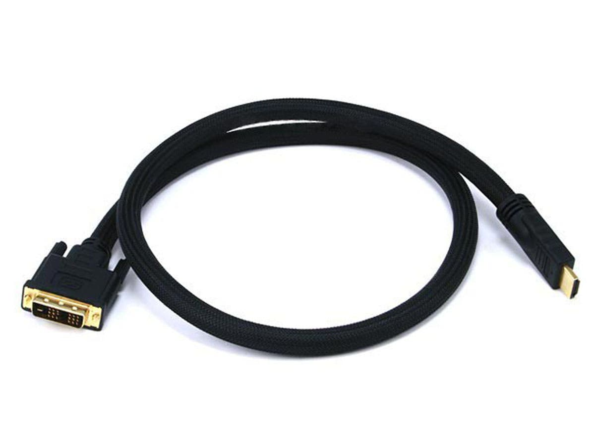 3ft 24AWG CL2 High Speed HDMI to DVI Adapter Cable with Net Jacket, Black