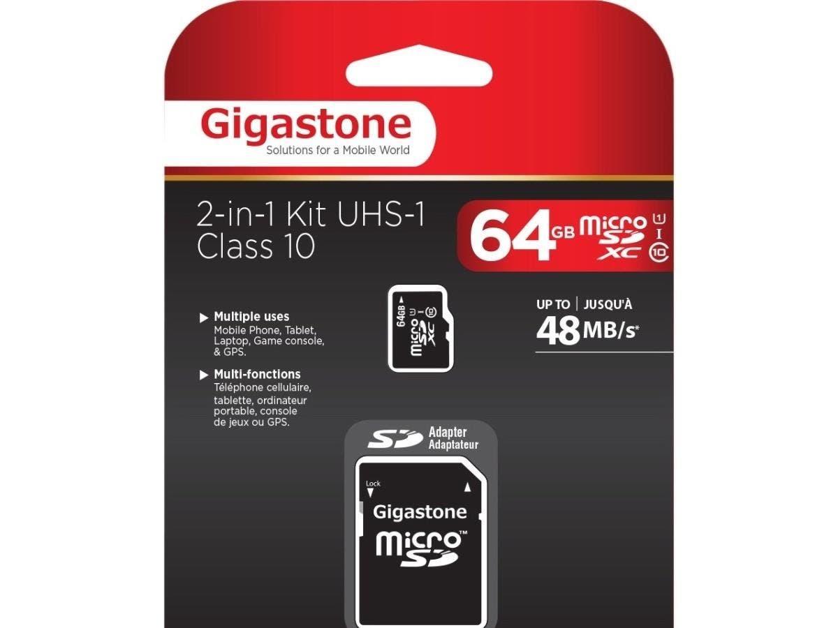 Gigastone 64 GB microSDXC - Class 10/UHS-I - 48 MB/s Read-Large-Image-1