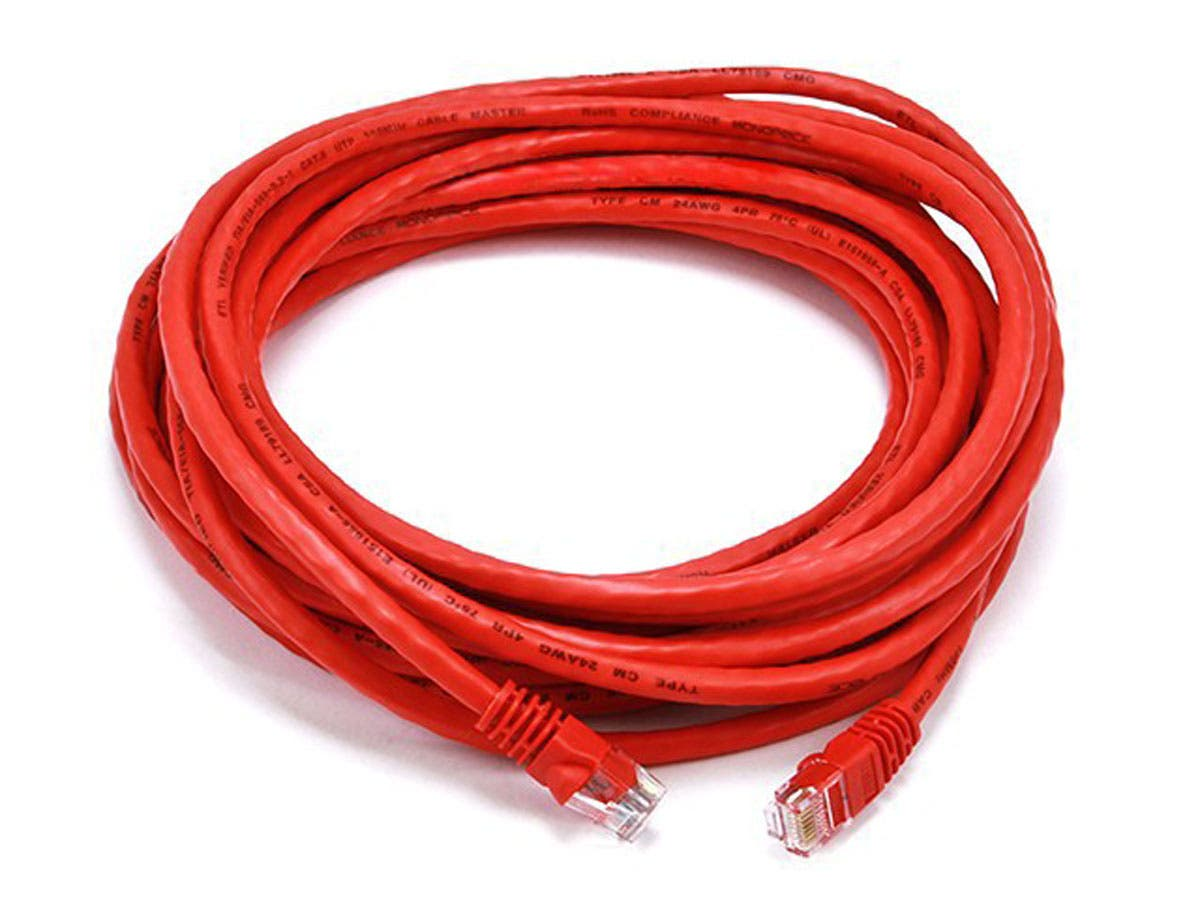 Cat6 24AWG UTP Ethernet Network Patch Cable, 25ft Red