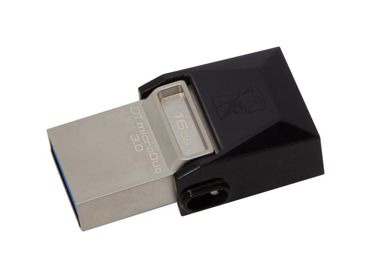 Kingston 16GB DataTraveler microDuo USB 3.0 On-The-Go Flash Drive - 16 GB - USB 3.0, Micro USB - Gray - Rotating Cap-Large-Image-1