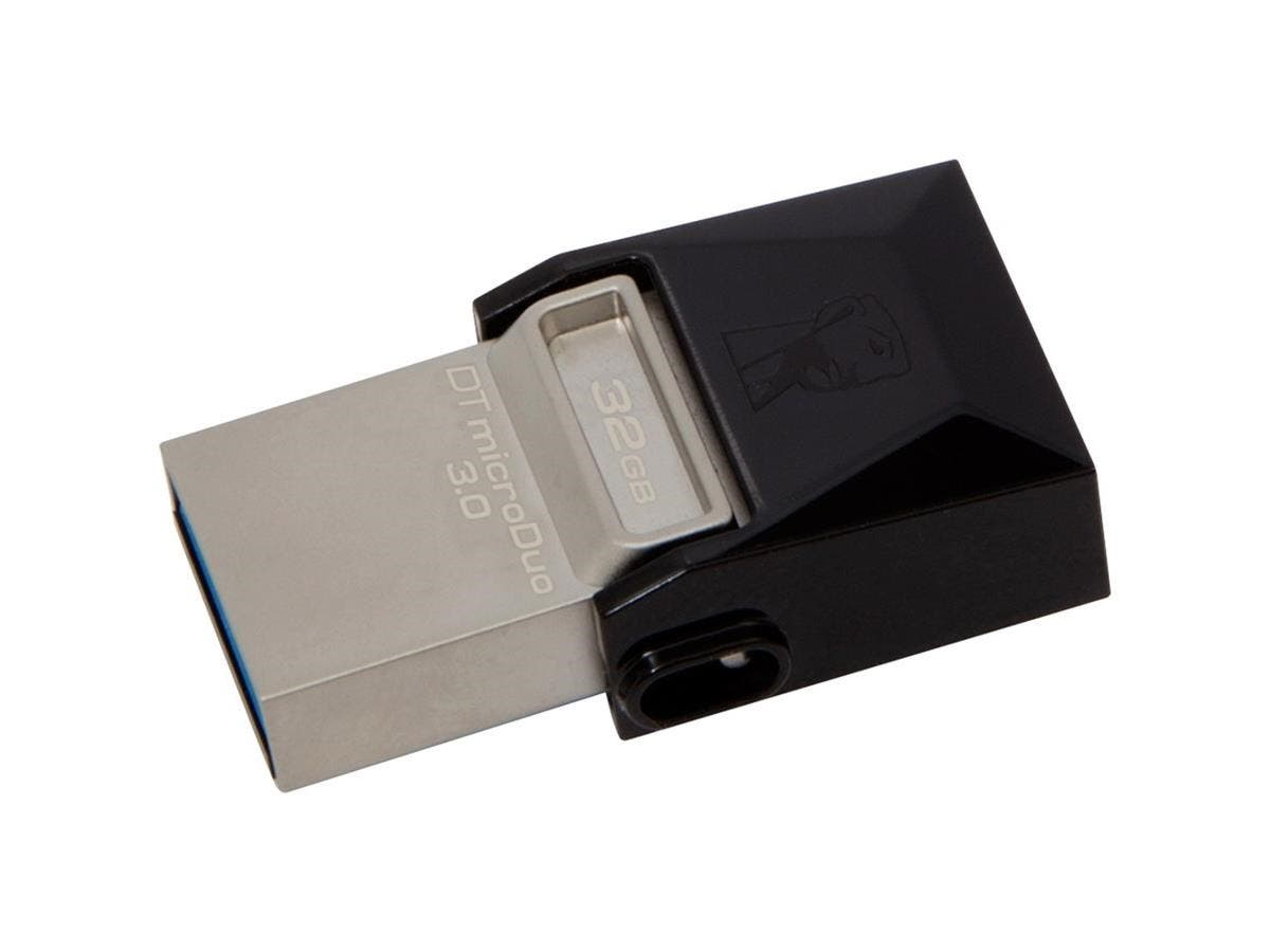 Kingston 32GB DataTraveler microDuo USB 3.0 On-The-Go Flash Drive - 32 GB - USB 3.0, Micro USB - Black - Rotating Cap-Large-Image-1