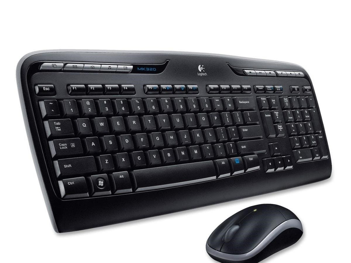 Logitech Wireless Desktop MK320 Keyboard and Mouse - USB Wireless RF Keyboard - 115 Key - Black - USB Wireless RF Mouse - Optical - Scroll Wheel - Black - Multimedia, Calculator, Media Player-Large-Image-1
