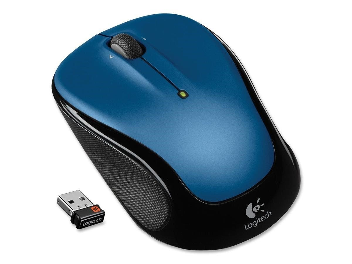 Logitech M325 Mouse - Optical - Wireless - Radio Frequency - Blue - USB - Scroll Wheel